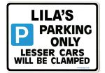 LILA'S Personalised Parking Sign Gift | Unique Car Present for Her |  Size Large - Metal faced